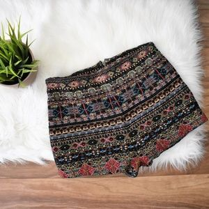 Tribal Print Textured Ecote Shorts